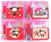 Wholesale pc cartoon pucca watches and wallet sets with gift box