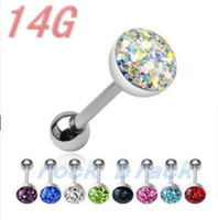 Wholesale Crystal paved ball tongue ring ga mixing colors body piercing jewelry BQZ126