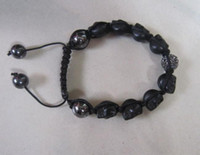 Wholesale jewelry silver bracelet Crystal strain skull bracelet inch L30