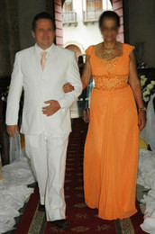 Orange Mother of the Bride Groom Dress 110915 A Line Beaded Chiffon Floor Length Real Actual Images