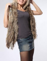 Wholesale Nature Brown Weave Rabbit Fur Vest Sleeveless Coat Outwear Cape Raccoon Fur Collar Fringes