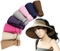 Wholesale Holiday style girl hat women visors beach hats solid color high density papyrus portable easily fold small size mix color