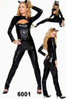 Wholesale Black PVC Latex Catsuits For Women Holloween Fantasy Woman Sexy Gothic Pajamas Role Playing Cat Costumes Dress Clothing Set Uniforme Suits