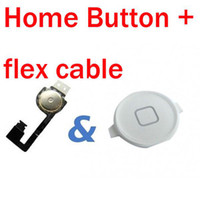 Wholesale White Black Home Menu Button Plastic Cap Flex Ribbon Cable For Phone iPhone iphone4 G New