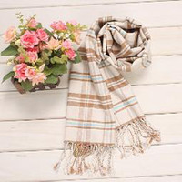 Wholesale Plain weave knit Shawls Silk scarves Scotland style rice White scarves Christmas