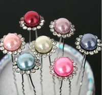Wholesale 200pcs Crystal Pearl Hair Pins Party Prom Hair Grips Wedding hair accessoriess