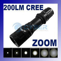 Wholesale ZOOMABLE CREE LED Flashlight lm Torch Zoom Focus Lamp Black Especially Bright Waterproof Adeal