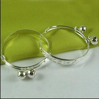 Wholesale New style Baby Bell Bangle Brand new silver Jewelry pair