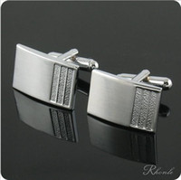 Wholesale 18mm mm rectangle crystal enchase mill finish cufflinks concise cuff buttons mixed order