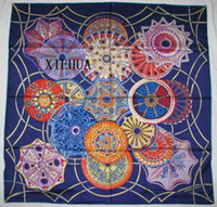 Floral silk twill scarf - LES DOMES CELESTES SILK TWILL SCARF HAND ROLLED x90cm BLUE HER MESS BLUE BLUE BLUE BLUE