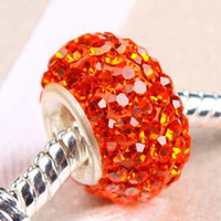 Wholesale Mix Colors Sterling Silver Sing Core Rhinestone Crystal Beads Jewelry