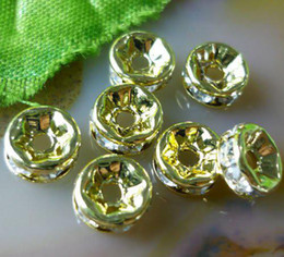 Free shipping 100pcs lot 4MM   5MM Rhinestone Crystal Rondelle Gold plate spacer bead,jewelry beads