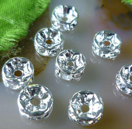 Free shipping 100pcs lot 4mm 5mm Rhinestone Crystal Rondelle Silver spacer bead,jewelry beads