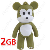 Wholesale 10pcs Cute Rubber Monkey Shaped GB USB Drive Flash Memory Stick U Disk for PC Laptop