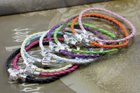 Wholesale DIY mm Fashion Plating Silver Colours Mixed Jewelry Finding Leather Bracelet
