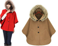 Wholesale New Women Fur Collar Hood Cloak Bat Sleeve Jacket Coat for party Christmas gift Style