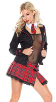 Wholesale Black Plaids Sexy Medieval Costumes Suits Jacket Lingerie Mini Skirt Neckwear Tie New