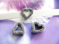 Wholesale mm Heart Rhinestone Slide Charms DIY Accessieres Fit Pet Collar Phone strips