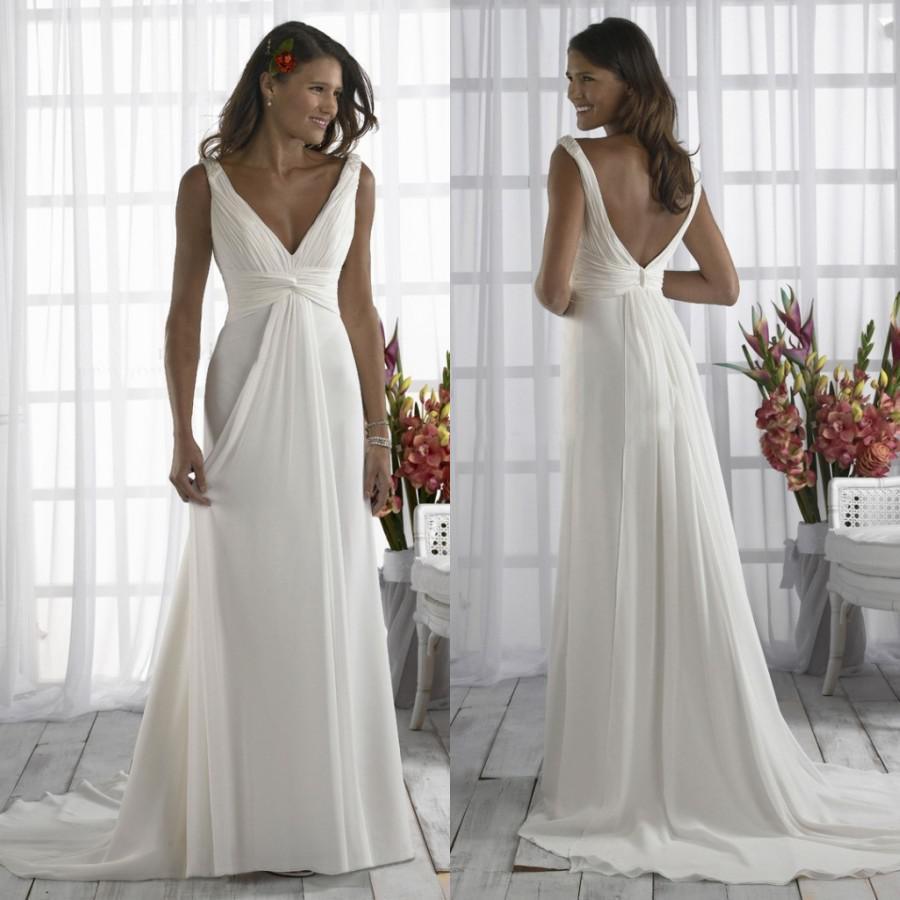 2015 simple wedding dresses casual v neck sheath plus size for Casual sheath wedding dresses