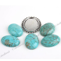 Wholesale 12pcs New Arrival Oval Turquoise Handcraft Beads Fit DIY Alloy foundation Pendants mm