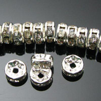 Wholesale mm g style Rondelles Crystal Silver Spacers Jewelry findings beads bead