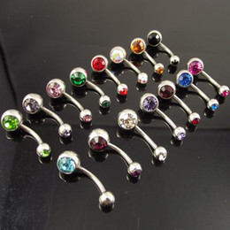 Wholesale 12pcs double gem belly ring press fit body piercing jewelry body jewelry mixed color double ge