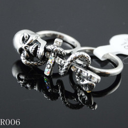 Wholesale halo skull silver dual rings spokemon soul silver jewelry stores pandora plating ring
