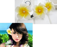Wholesale 200p Baby Kid Frangipani Light Yellow Flower Hawaiian Plumeria Flowers Foam Hair Clip cm