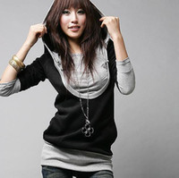 Wholesale Korea Fashion Design U Neck Tops with Hoodie Blouse Black Fashion Tops Long sleeved T shirt