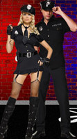 Wholesale Sexy Black Dirty Cop Costume with Button Front Dress Hat Fingerless Gloves Tie and Belt Thong