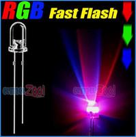 led 3mm led - x mm Fast flash Red Green blue RGB Rainbow LED promotion rohs green light pin