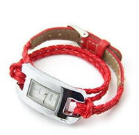 Wholesale 12pcs rope watch hand knitted leather watch women watch jelly wat