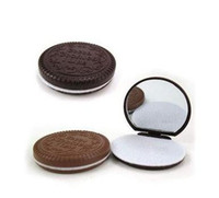 Wholesale 100PCS Cocoa Cookies Design Mirror Make Up And Comb hot