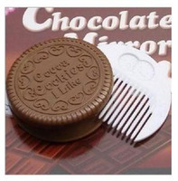 Wholesale 50PCS Cocoa Cookies Design Mirror Make Up And Comb hot