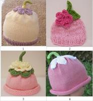 al por mayor sombreros de hilo-Del ganchillo gorro handknit fruta de color rosa fresa las gorras de 18pcs / hilado de algodón de los niños 0-3Y mucho