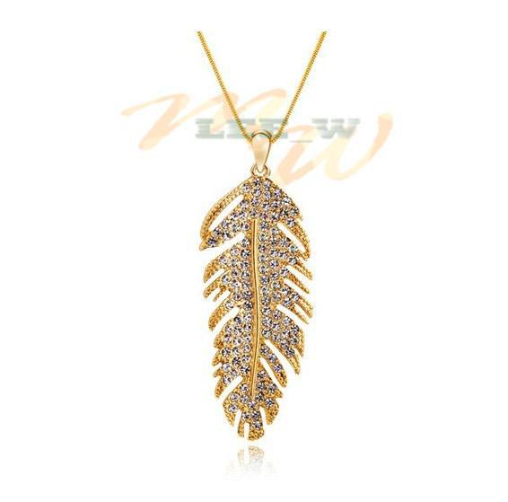 Gold Peacock Feather Necklace Necklace Peacock Feather