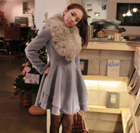 Wholesale Women s New Wind Coat Pull sleeve Outwear Warm Fur Collar Garment Gray AA121