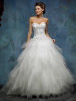 Wholesale Strapless A line Mia Solano Wedding Dresses Gown Layered Tulle M9833L Chapel Train Embroidery Beaded