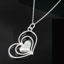 Factory price 925 silver double hollow hearts fit a cute heart links necklace brand new,20pcs lot