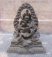 Wholesale Tibet Bronze Red Jambhala Yab yum Buddha Statue Height Longth Wildth inch