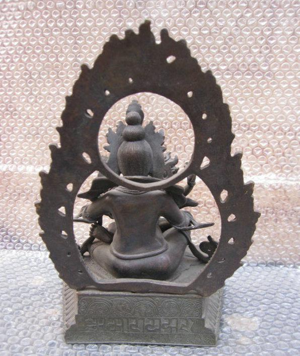 Tibet Bronze Red Jambhala Yab-yum Buddha Statue Height 11 Longth: 8 Wildth: 5.5 inch