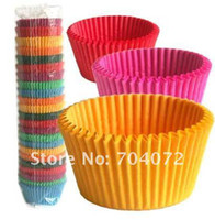 Wholesale 600pcs food grade paper cupcake cases baking tool cake cup muffin cases colors