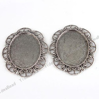 Wholesale 12PCS Pendant Tray Oval Shaped Cabochon Setting Silver Plated