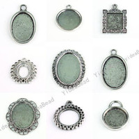 Wholesale 36pcs Mixed Designs Pendant Tray Cabochon Setting Silver Plated Fit Jewelry Display diy