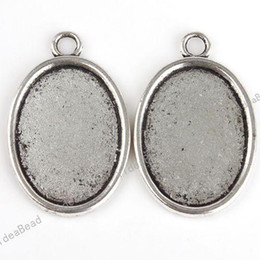 Wholesale 80 FREE EMS Pendant Tray Oval Shaped Cabochon Setting Silver Plated Fit Jewelry Display