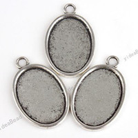 Wholesale 40pcs Hot Sale Pendant Tray Oval Shaped Cabochon Setting Silver Plated Fit Jewelry Display