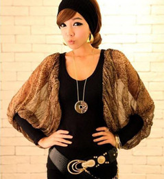 Wholesale Women s new Sexy leopard chiffon ballon sleeve T shirts clubwear AA45