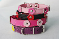 Wholesale New Colourful pink red black leather dog collars personalized flower spiffy dog collars CP078