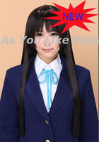 Wholesale Best Selling K ON Akiyama Mio Long Black Cosplay Wig Party Hair Wig Anime Wig J74