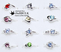 South American Unisex Party Free Ship wholesale 100pcs Wholesale lot silver tone CZ Rings jewelry